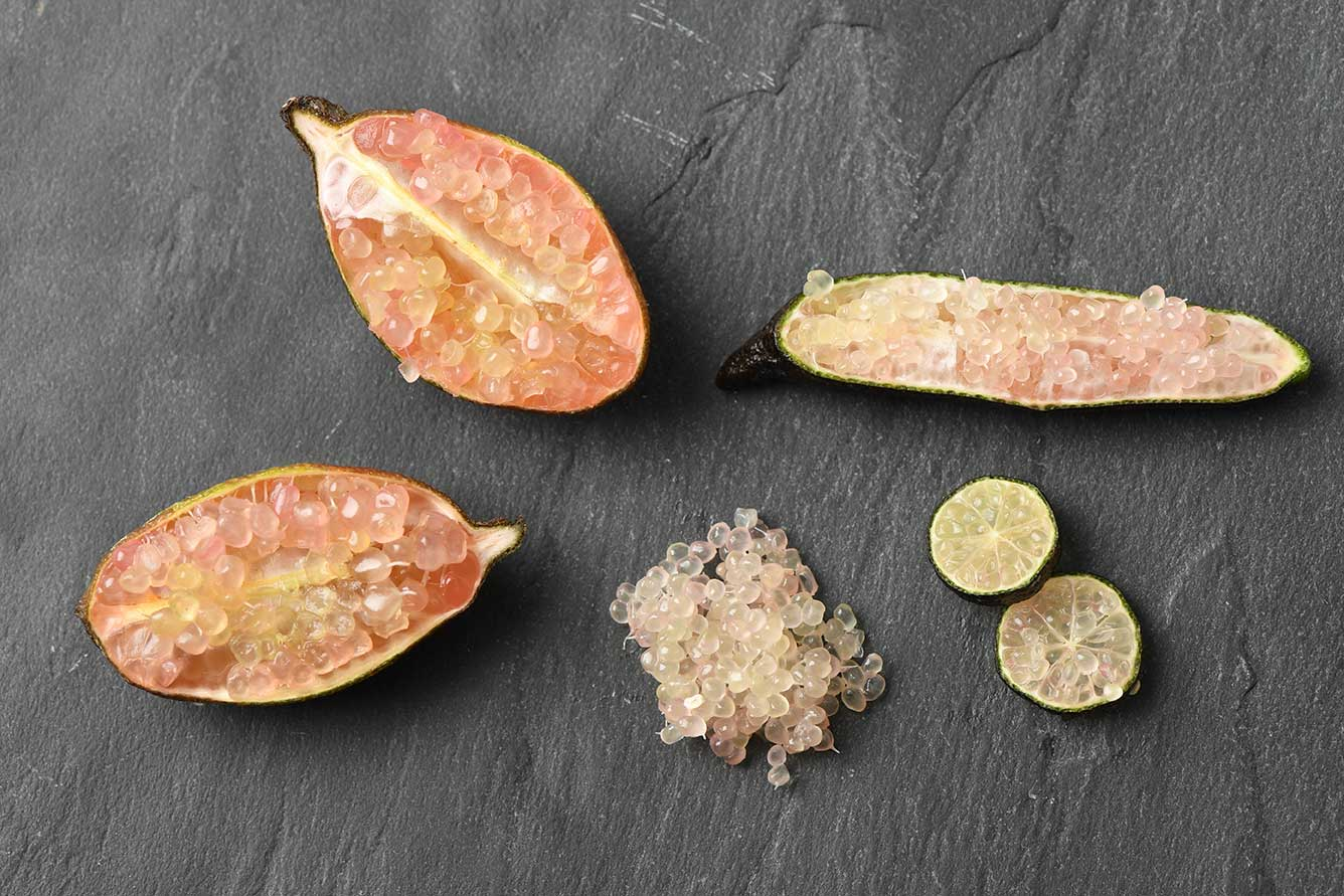 citron caviar et bloodlime pulpe
