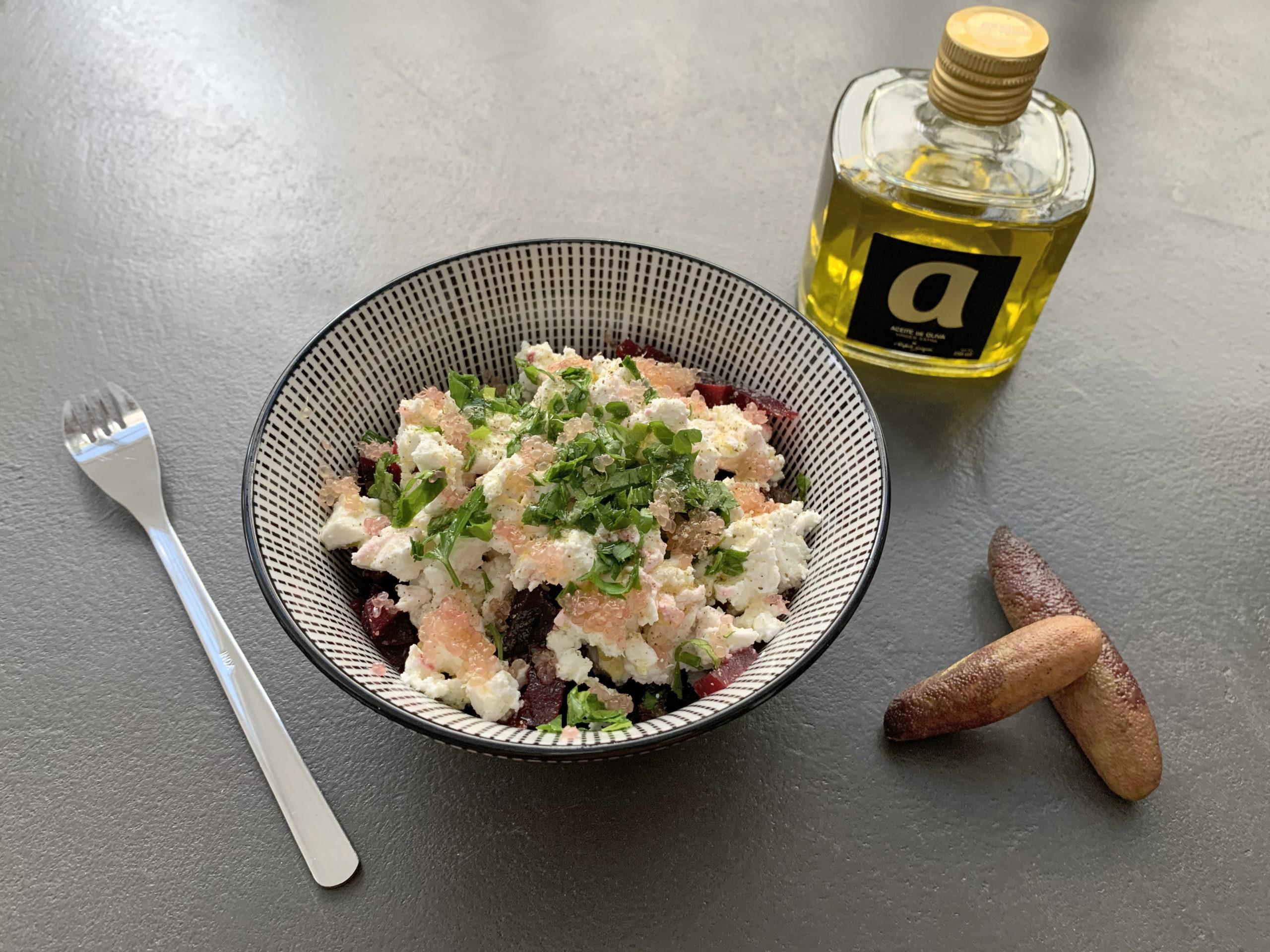 salade de bettraves chèvre frais et citron caviar